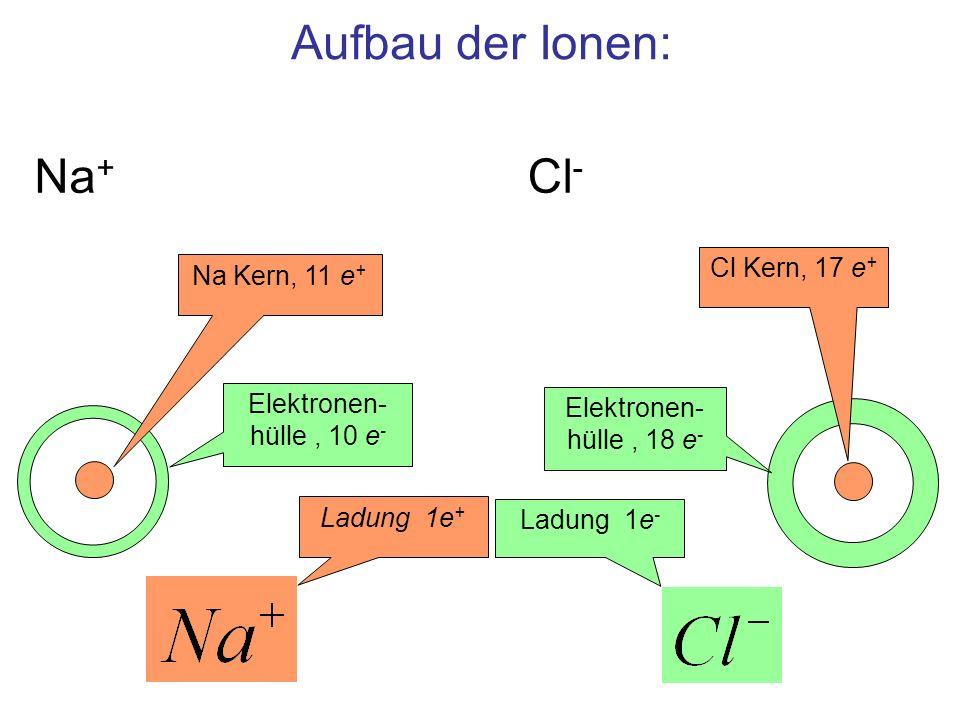 Aufbau der Ionen: Na+ Cl- Cl Kern, 17 e+ Na Kern, 11 e+
