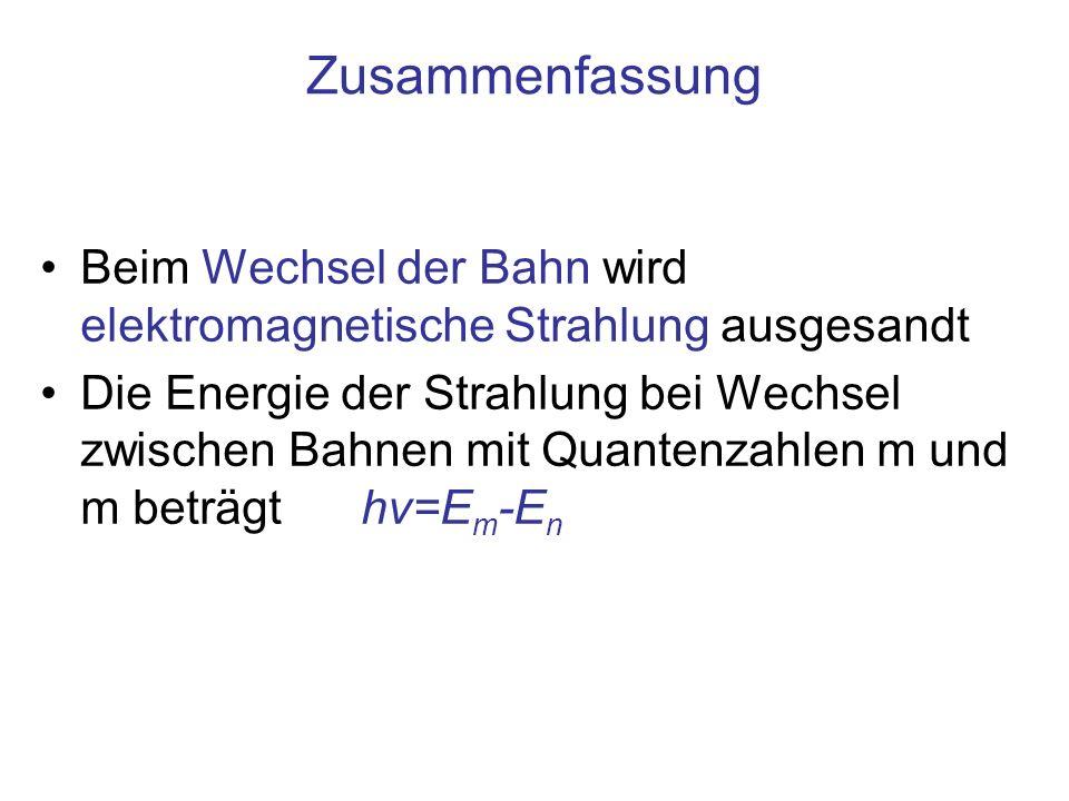 Zusammenfassung Beim Wechsel der Bahn wird elektromagnetische Strahlung ausgesandt.