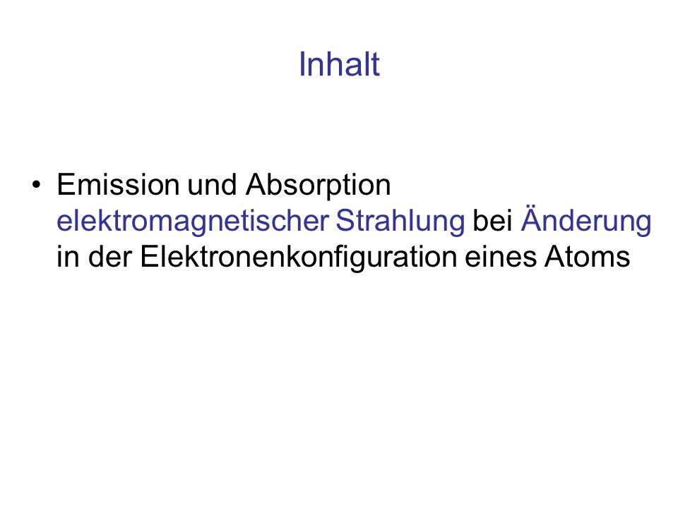 InhaltEmission und Absorption elektromagnetischer Strahlung bei Änderung in der Elektronenkonfiguration eines Atoms.