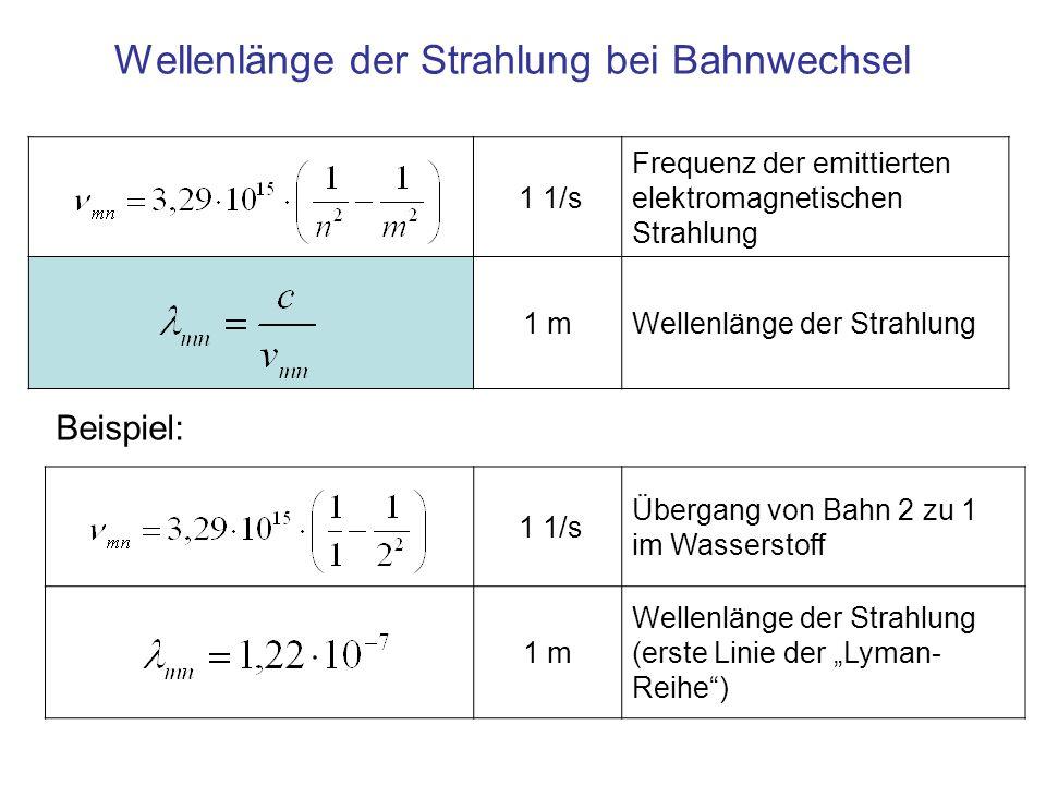Wellenlänge der Strahlung bei Bahnwechsel