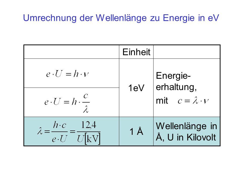 Umrechnung der Wellenlänge zu Energie in eV