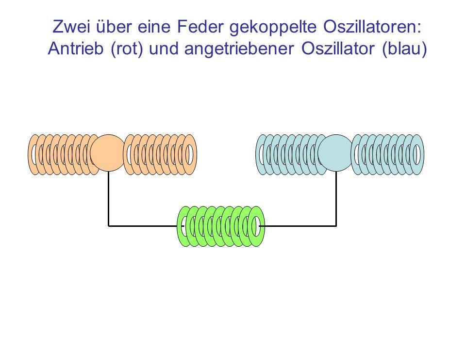 Zwei über eine Feder gekoppelte Oszillatoren: Antrieb (rot) und angetriebener Oszillator (blau)