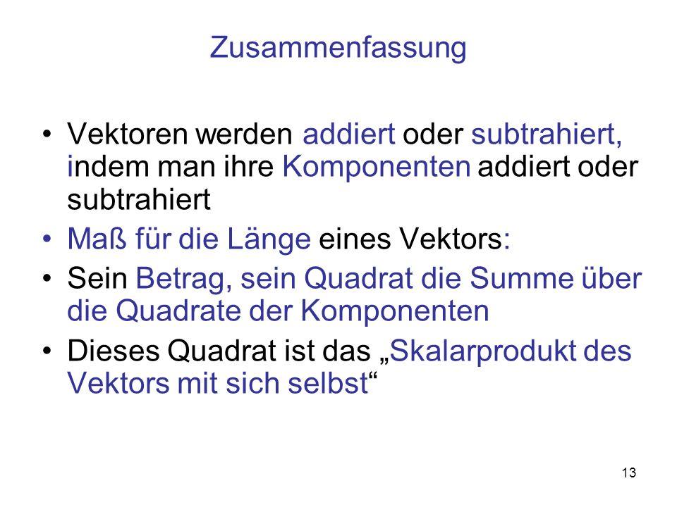 Zusammenfassung Vektoren werden addiert oder subtrahiert, indem man ihre Komponenten addiert oder subtrahiert.