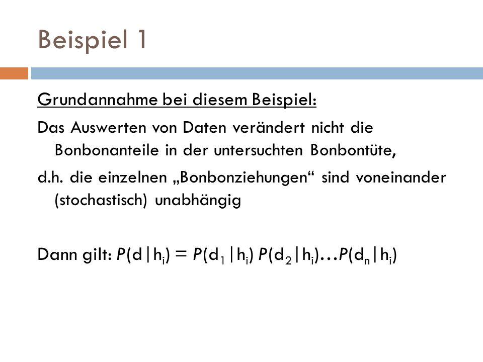 Beispiel 1 Grundannahme bei diesem Beispiel:
