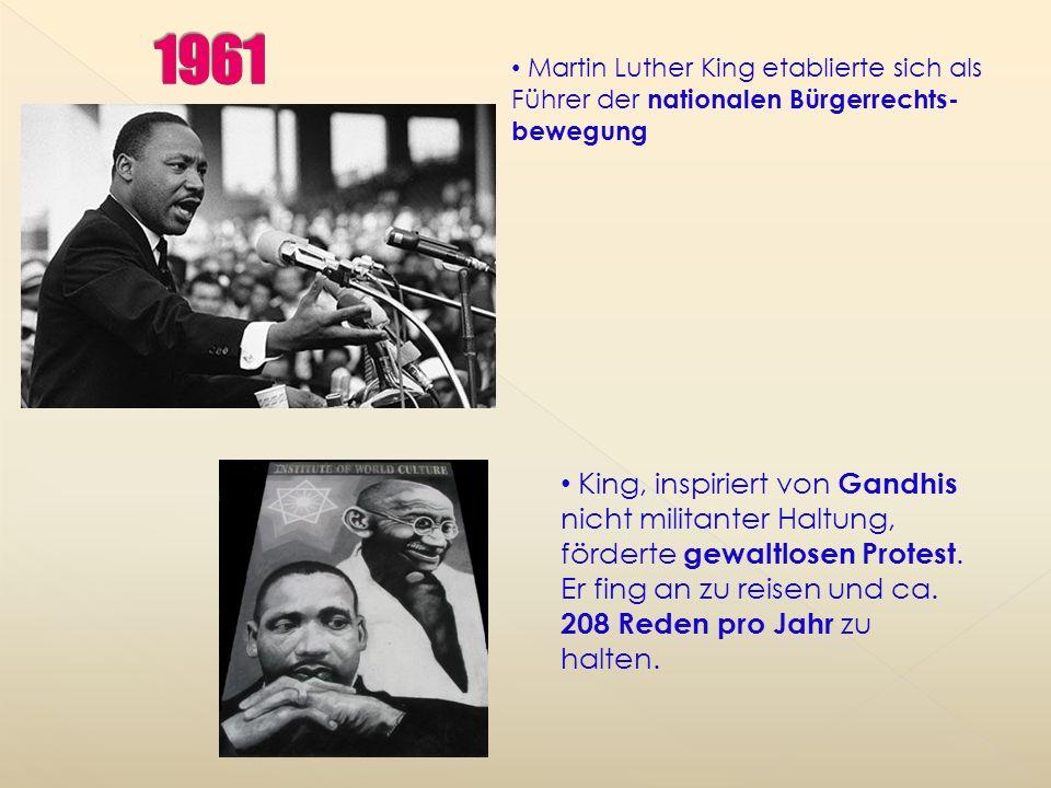 1961 Martin Luther King etablierte sich als Führer der nationalen Bürgerrechts-bewegung.