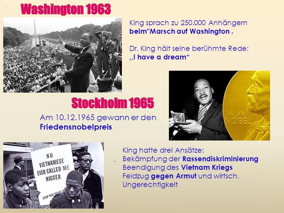 Washington 1963 King sprach zu 250.000 Anhängern beim Marsch auf Washington . Dr. King hält seine berühmte Rede:
