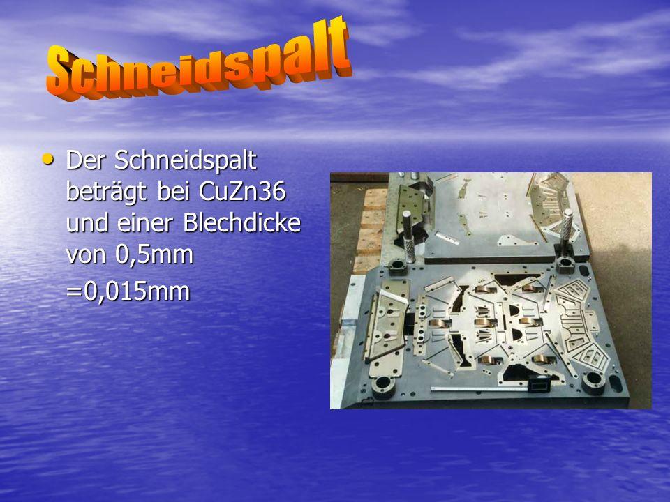 Schneidspalt Der Schneidspalt beträgt bei CuZn36 und einer Blechdicke von 0,5mm =0,015mm