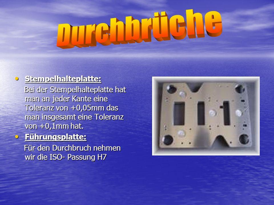 Durchbrüche Stempelhalteplatte: