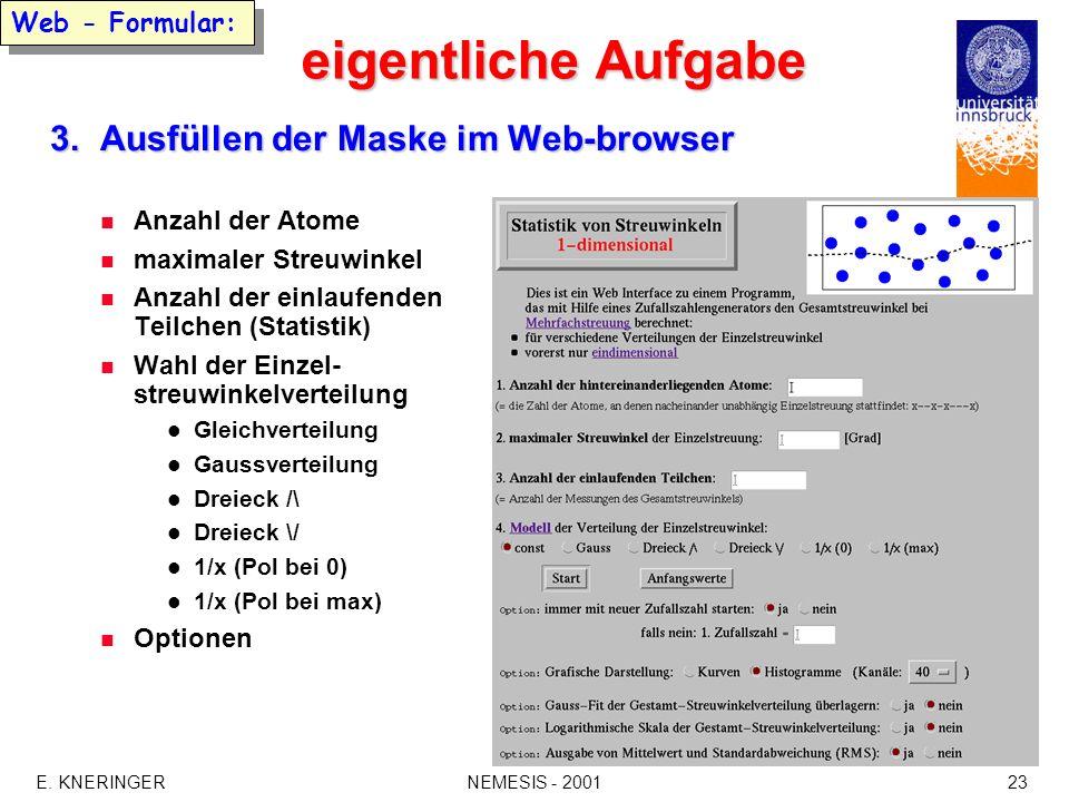 eigentliche Aufgabe 3. Ausfüllen der Maske im Web-browser