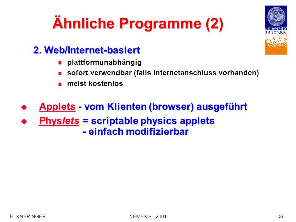 Ähnliche Programme (2) 2. Web/Internet-basiert