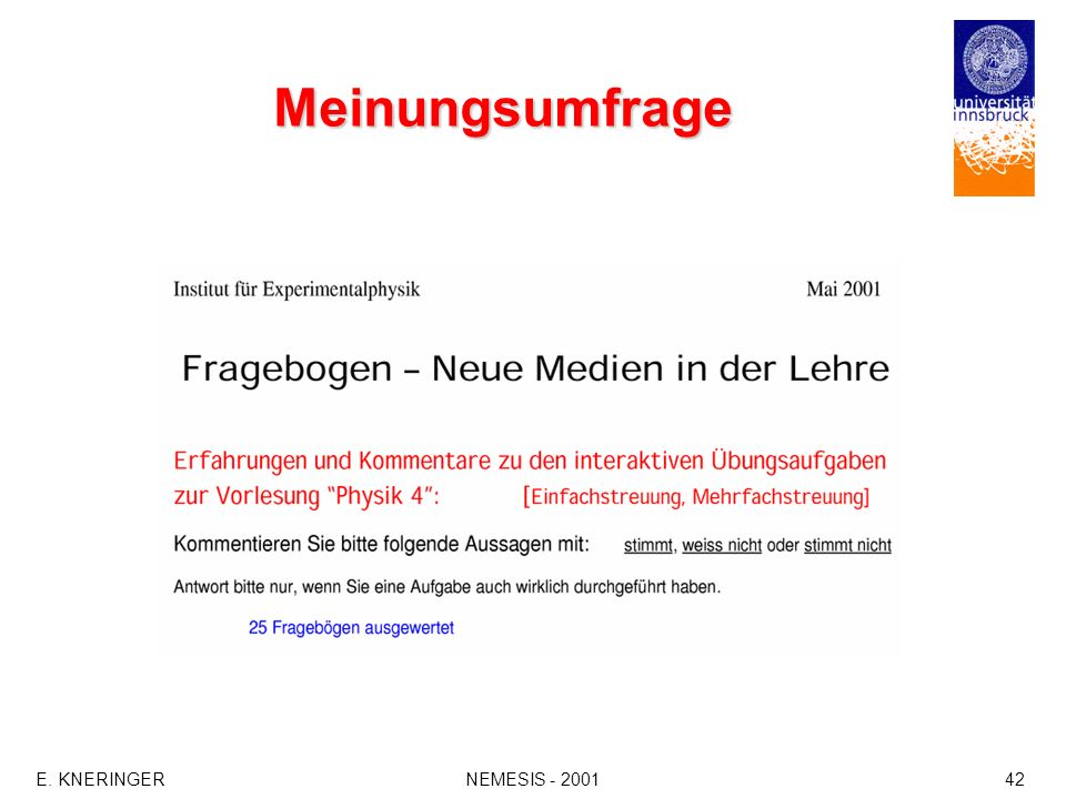 Meinungsumfrage E. KNERINGER NEMESIS - 2001