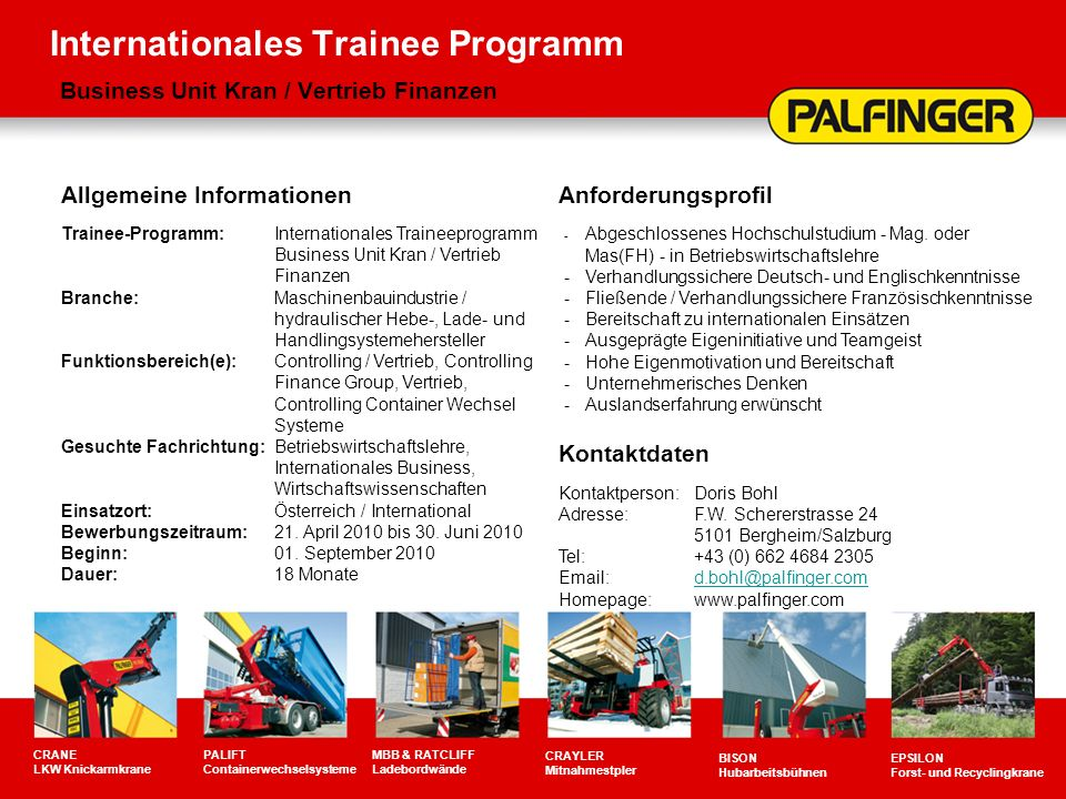 Internationales Trainee Programm Business Unit Kran / Vertrieb Finanzen
