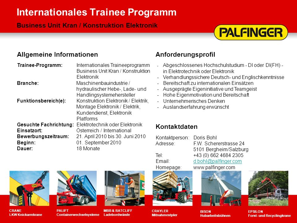 Internationales Trainee Programm Business Unit Kran / Konstruktion Elektronik