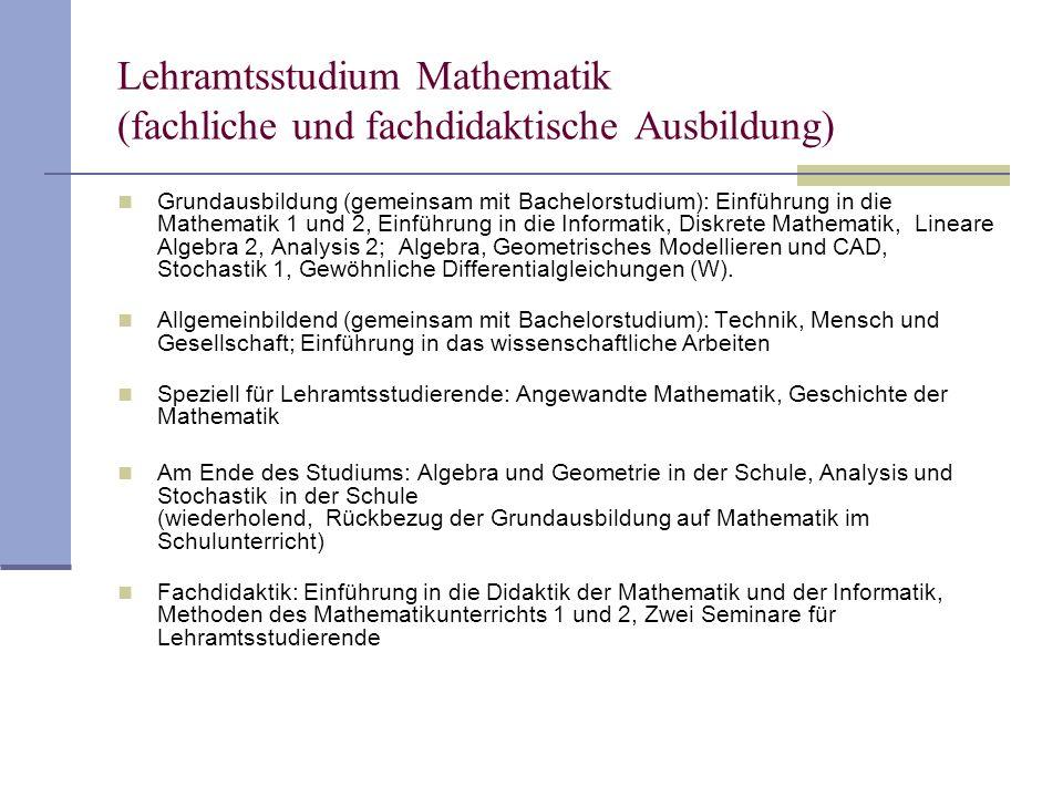 Lehramtsstudium Mathematik (fachliche und fachdidaktische Ausbildung)