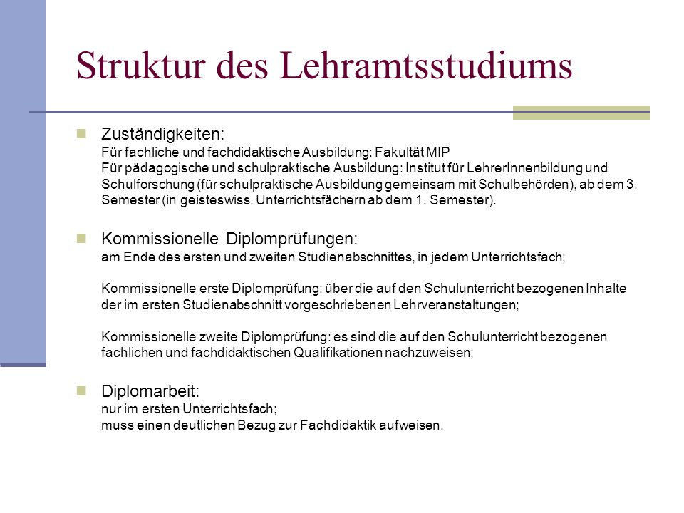 Struktur des Lehramtsstudiums