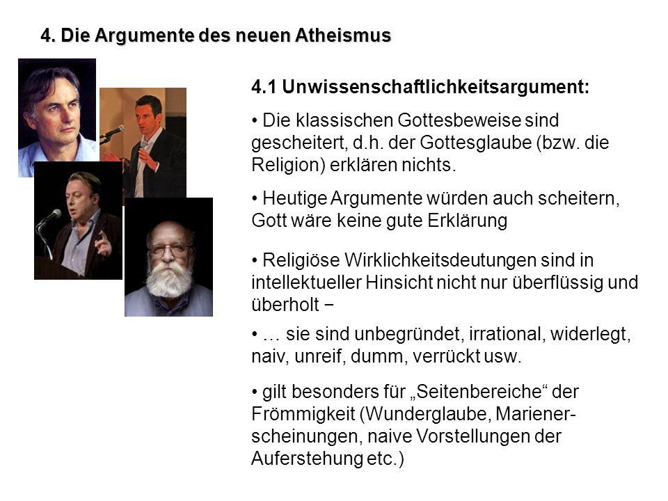 4. Die Argumente des neuen Atheismus