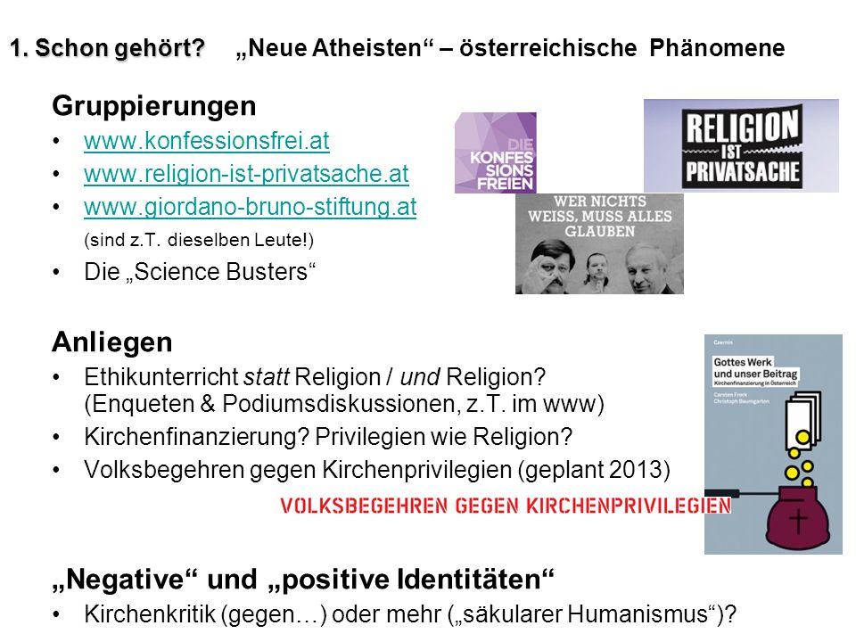 """1. Schon gehört """"Neue Atheisten – österreichische Phänomene"""