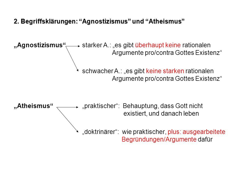2. Begriffsklärungen: Agnostizismus und Atheismus