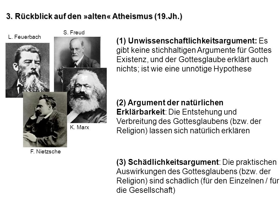 3. Rückblick auf den »alten« Atheismus (19.Jh.)