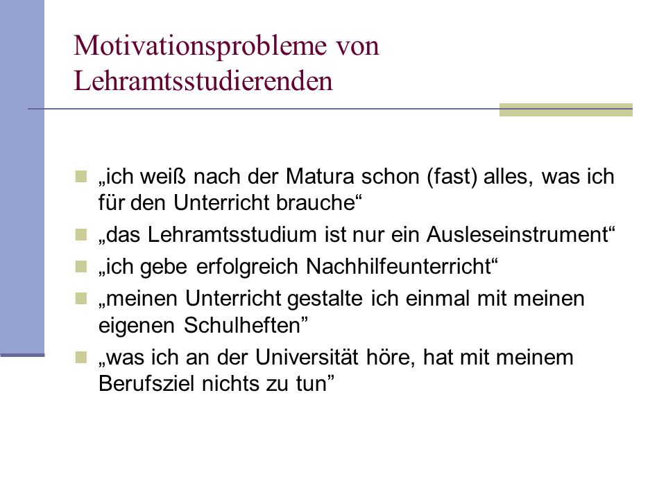 Motivationsprobleme von Lehramtsstudierenden