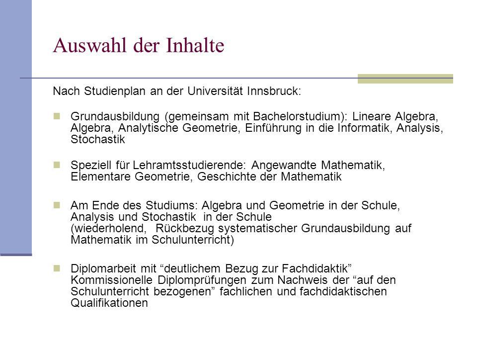 Auswahl der Inhalte Nach Studienplan an der Universität Innsbruck: