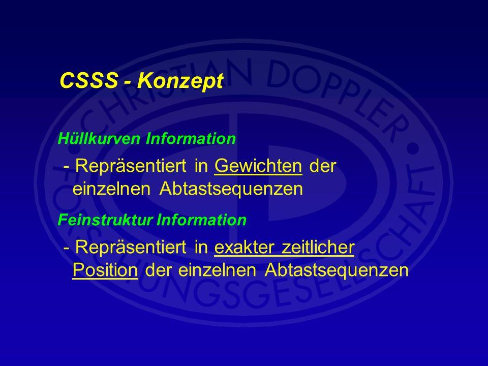 CSSS - Konzept Hüllkurven Information. - Repräsentiert in Gewichten der einzelnen Abtastsequenzen.