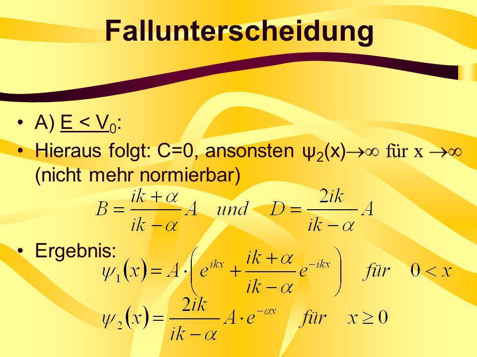 Fallunterscheidung A) E < V0: