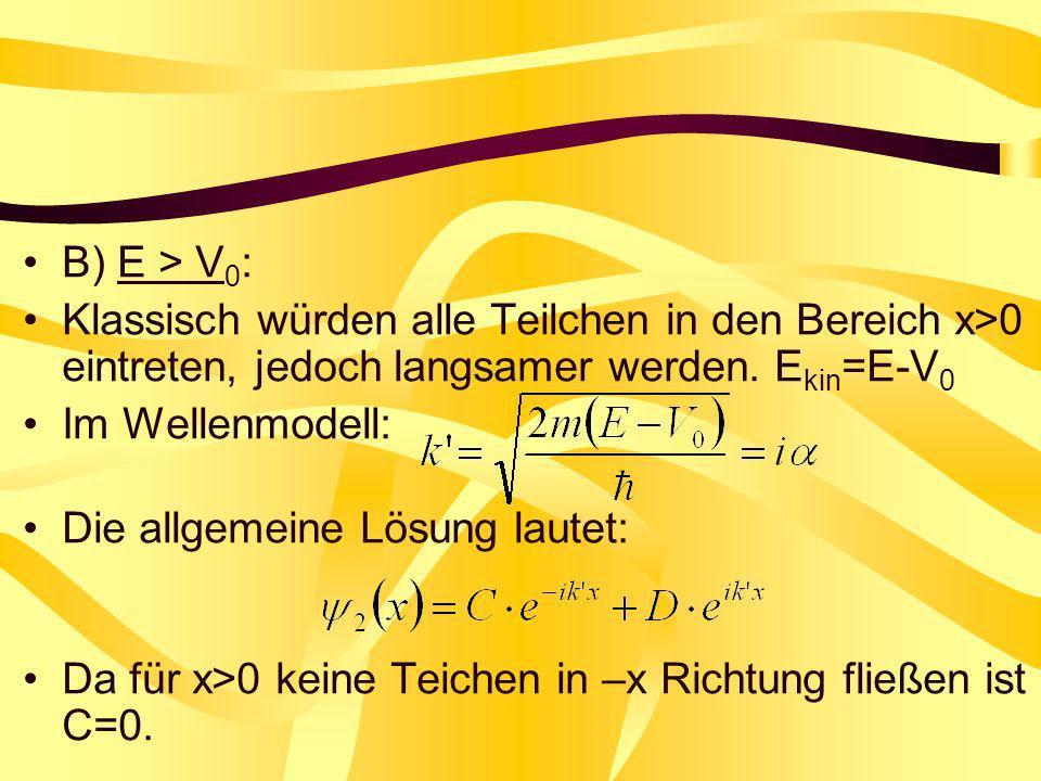 B) E > V0: Klassisch würden alle Teilchen in den Bereich x>0 eintreten, jedoch langsamer werden. Ekin=E-V0.