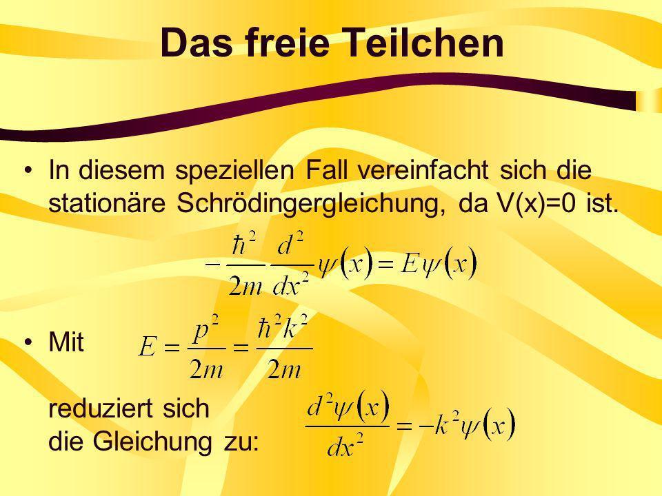 Das freie Teilchen In diesem speziellen Fall vereinfacht sich die stationäre Schrödingergleichung, da V(x)=0 ist.