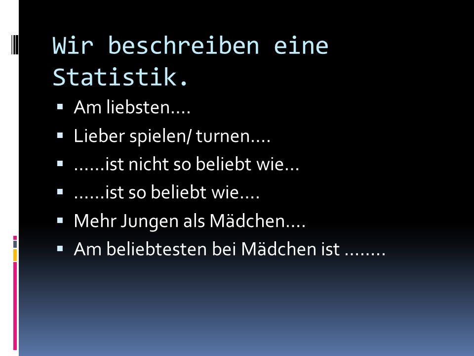 Wir beschreiben eine Statistik.