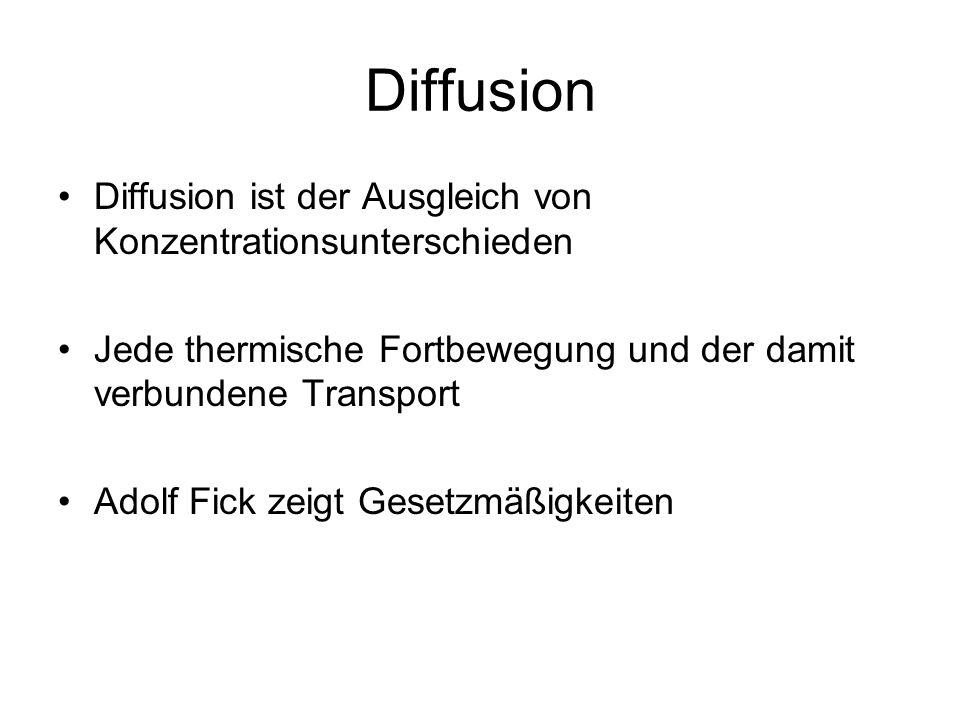 Diffusion Diffusion ist der Ausgleich von Konzentrationsunterschieden
