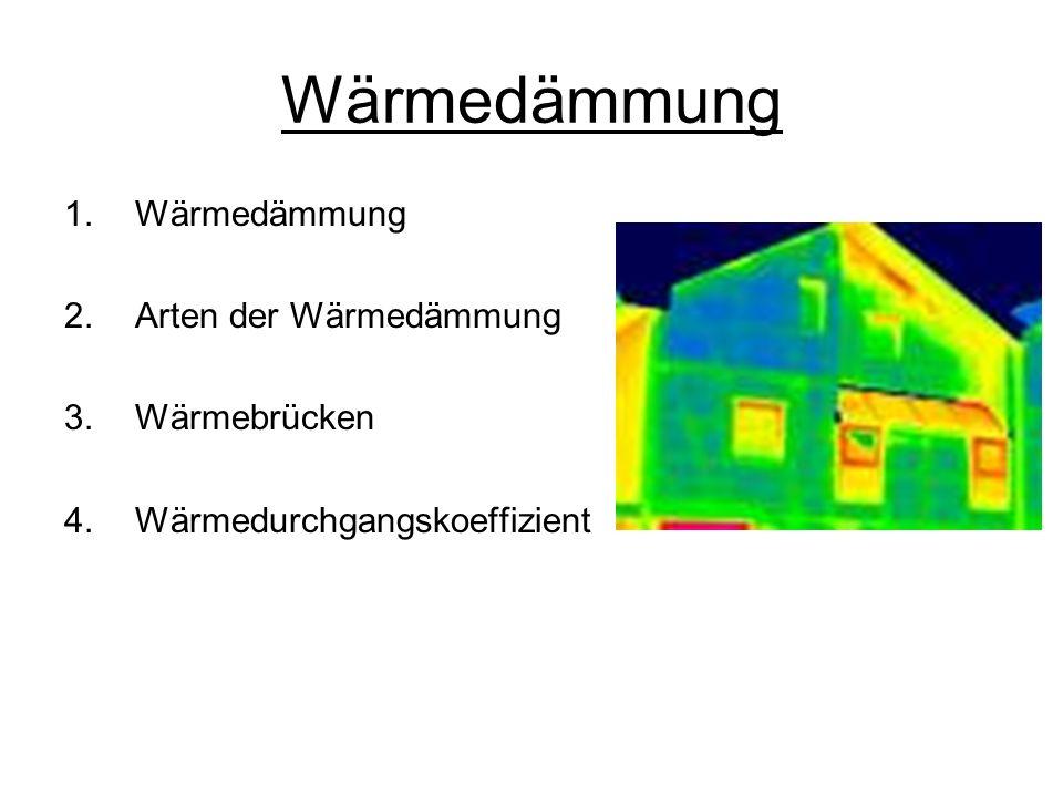 Wärmedämmung Wärmedämmung Arten der Wärmedämmung Wärmebrücken