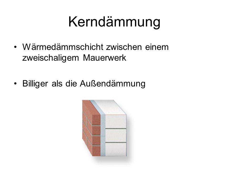 Kerndämmung Wärmedämmschicht zwischen einem zweischaligem Mauerwerk