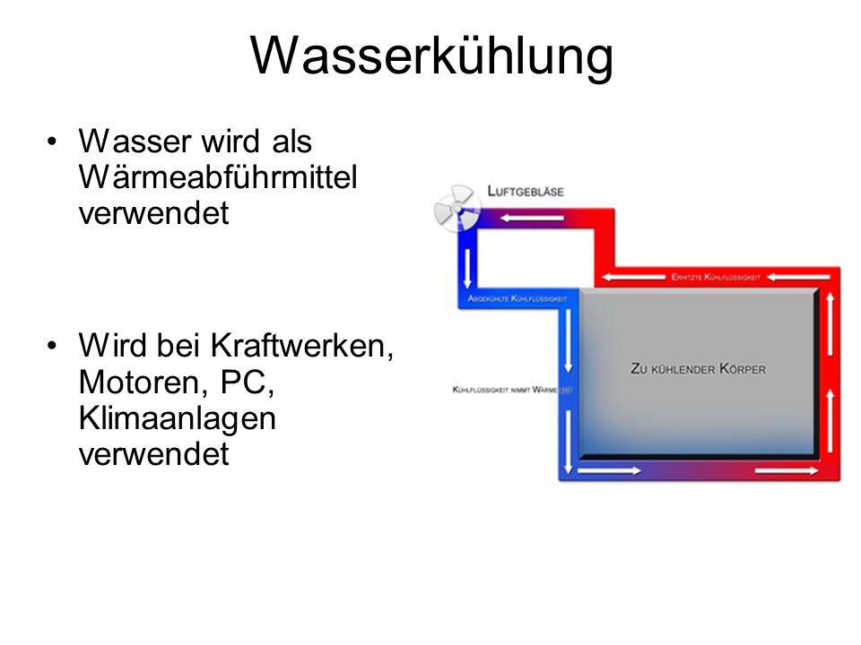 Wasserkühlung Wasser wird als Wärmeabführmittel verwendet