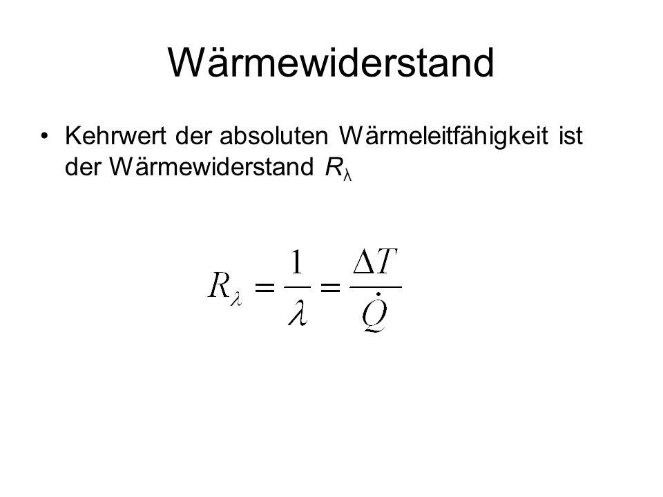 Wärmewiderstand Kehrwert der absoluten Wärmeleitfähigkeit ist der Wärmewiderstand Rλ