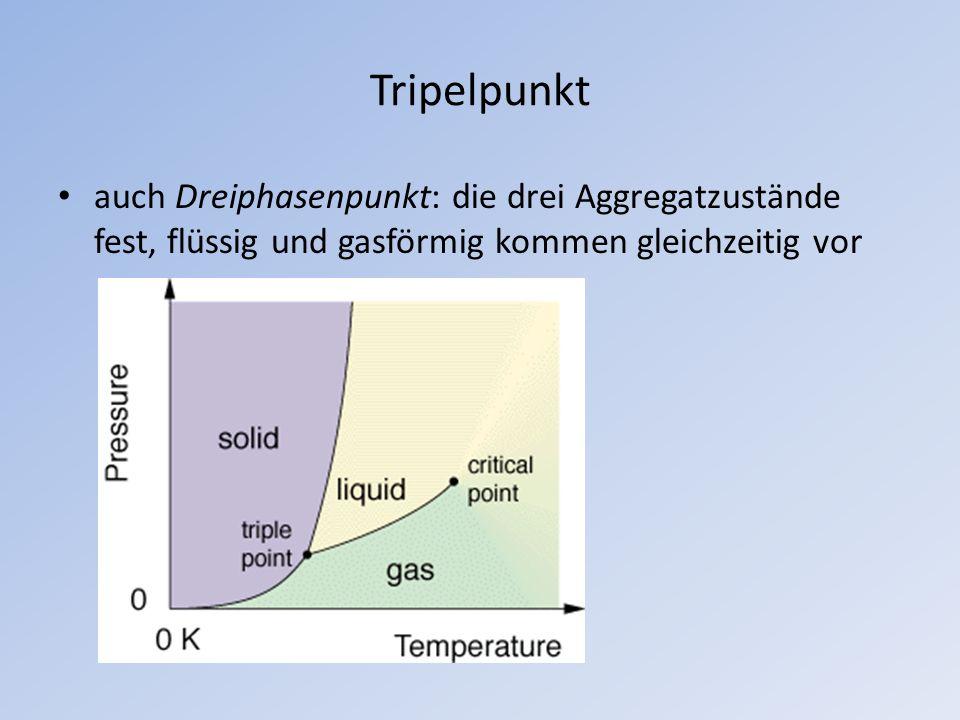 Tripelpunkt auch Dreiphasenpunkt: die drei Aggregatzustände fest, flüssig und gasförmig kommen gleichzeitig vor.