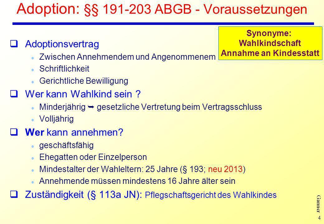 Adoption: §§ 191-203 ABGB - Voraussetzungen