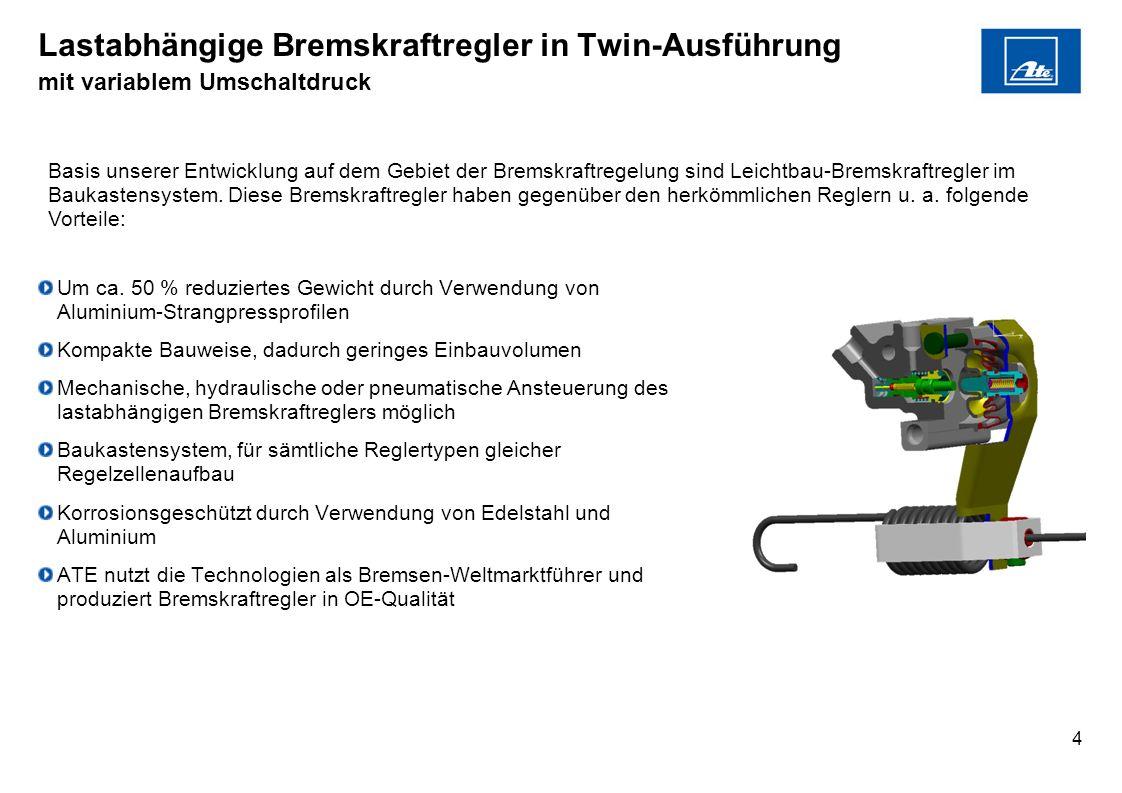Lastabhängige Bremskraftregler in Twin-Ausführung mit variablem Umschaltdruck