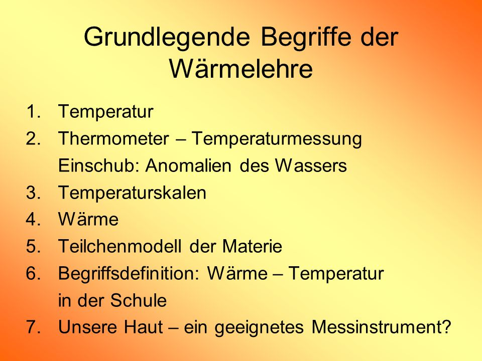 Grundlegende Begriffe der Wärmelehre