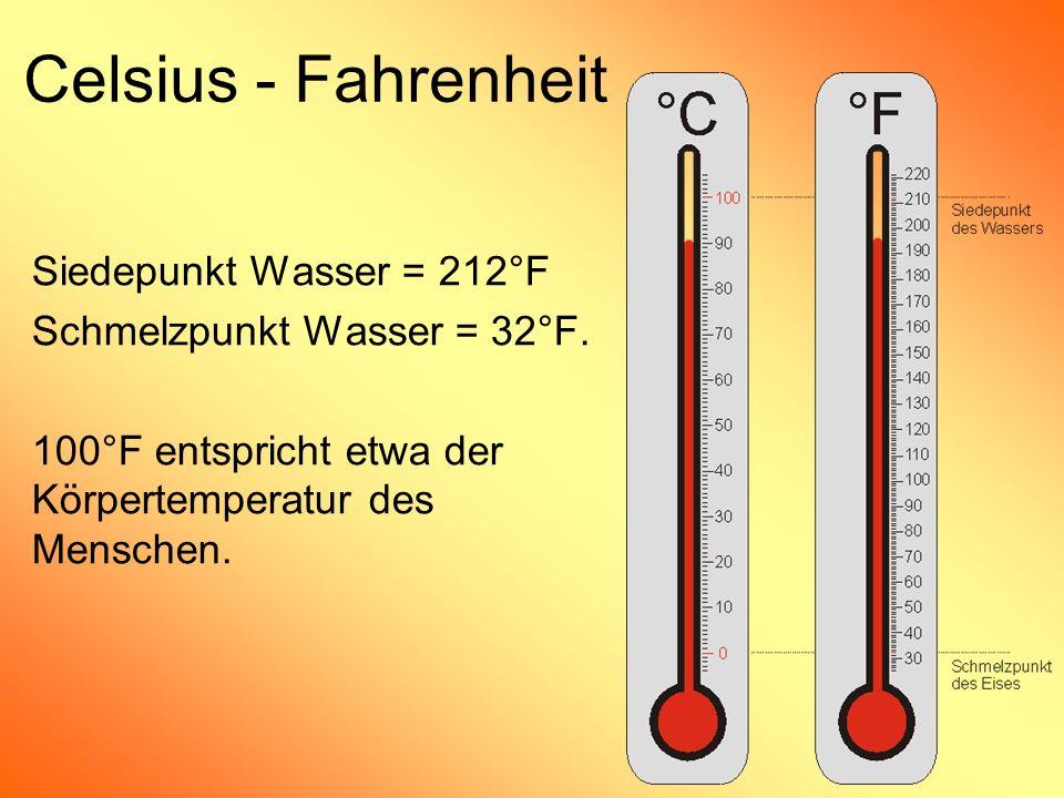 Celsius - Fahrenheit Siedepunkt Wasser = 212°F