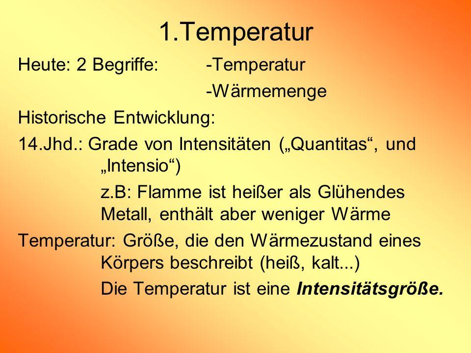 1.Temperatur Heute: 2 Begriffe: -Temperatur -Wärmemenge