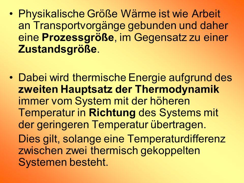 Physikalische Größe Wärme ist wie Arbeit an Transportvorgänge gebunden und daher eine Prozessgröße, im Gegensatz zu einer Zustandsgröße.