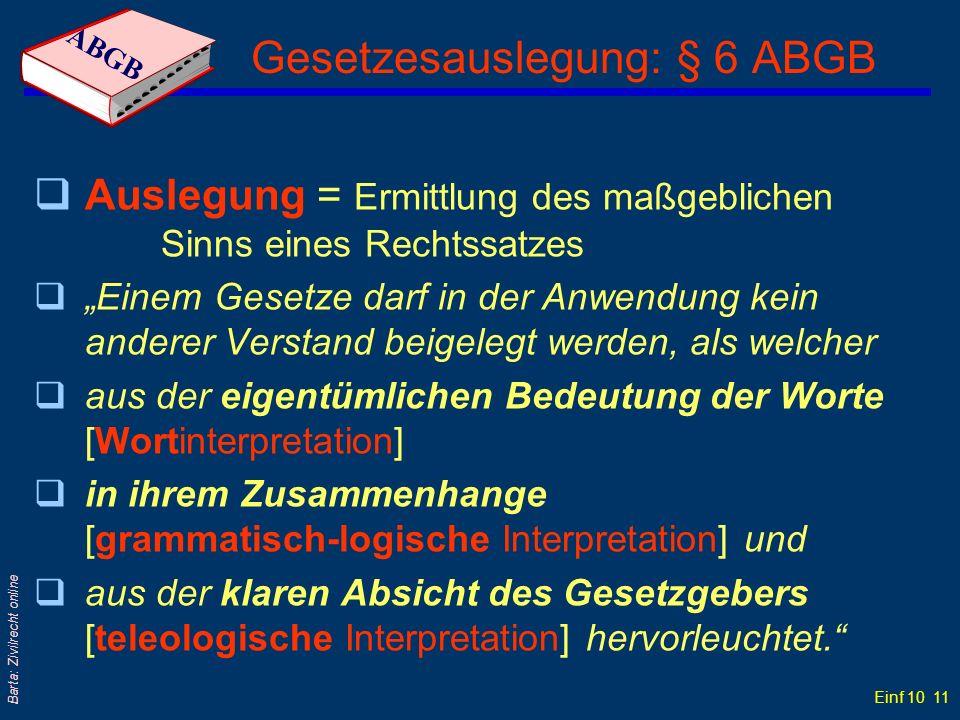 Gesetzesauslegung: § 6 ABGB