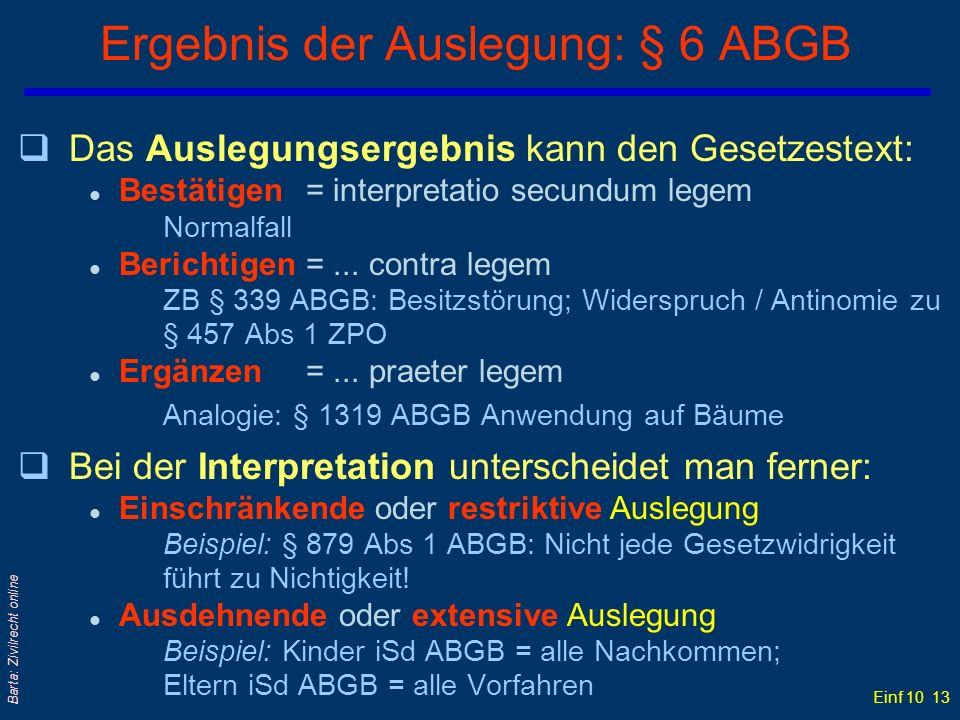 Ergebnis der Auslegung: § 6 ABGB