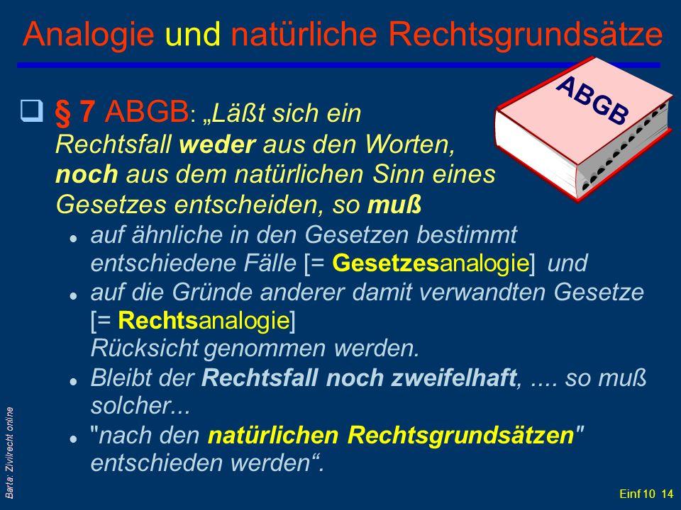 Analogie und natürliche Rechtsgrundsätze