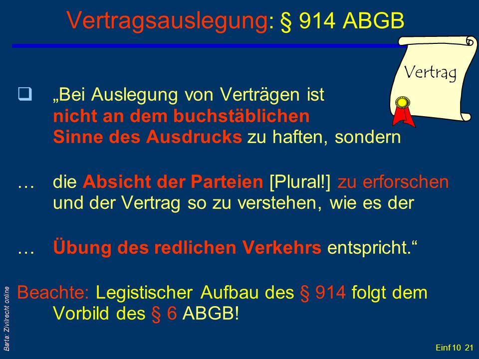 Vertragsauslegung: § 914 ABGB