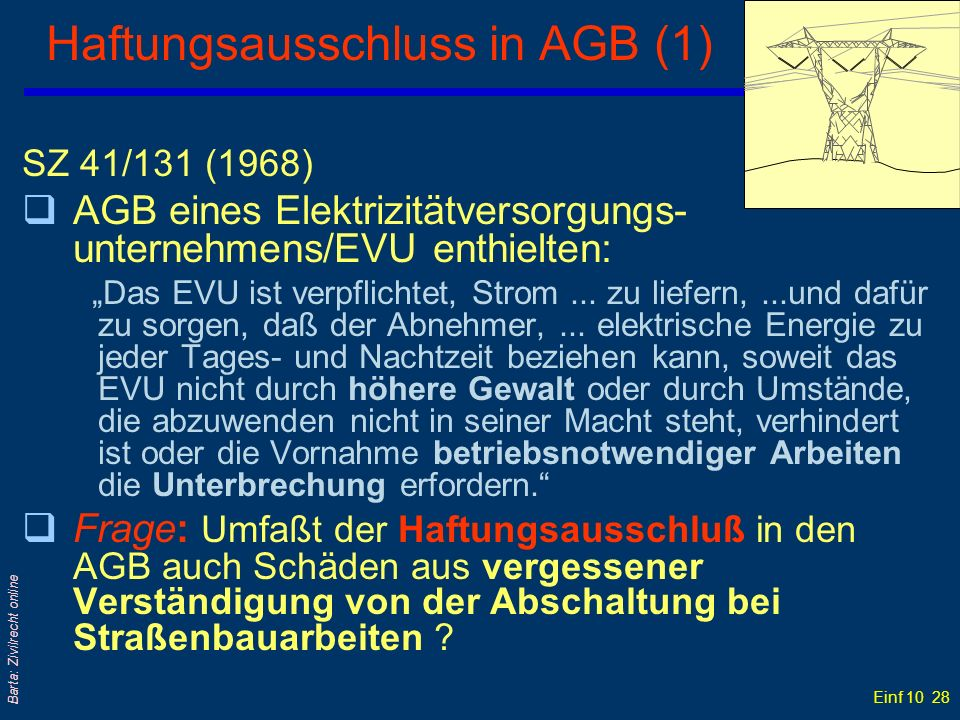 Haftungsausschluss in AGB (1)