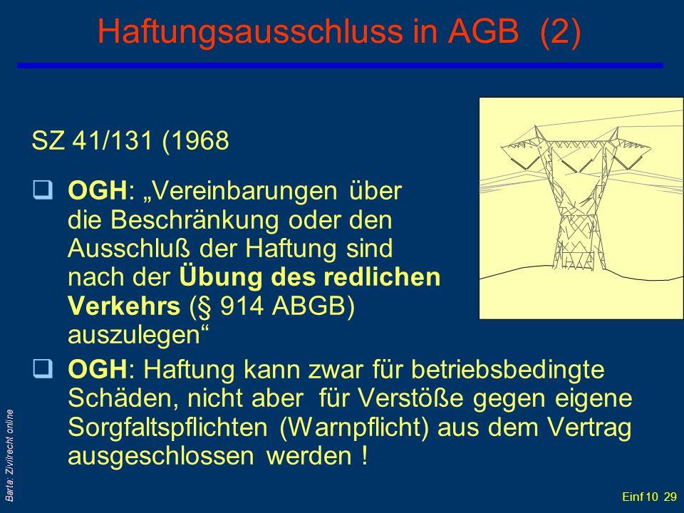 Haftungsausschluss in AGB (2)