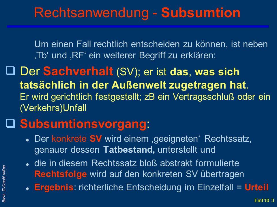 Rechtsanwendung - Subsumtion