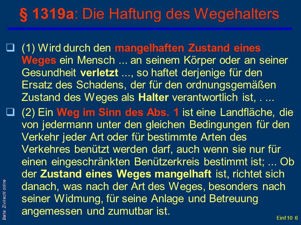 § 1319a: Die Haftung des Wegehalters
